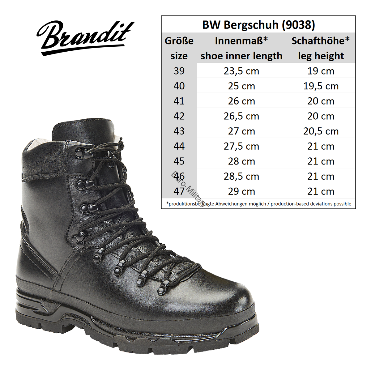 74ae13f3a55 Brandit® BW German Army Military Mens Mountain Boots